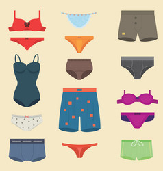 Underwear clothes fashion look man and woman vector