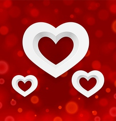 White heart on a red background vector image vector image