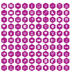 100 help desk icons hexagon violet vector