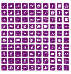 100 landmarks icons set grunge purple vector image vector image