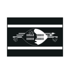 Flag of swaziland monochrome on white background vector