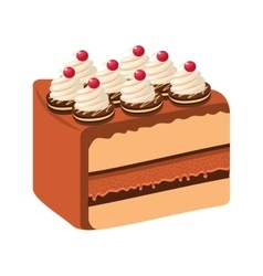 Delicious cake portion sweet icon vector
