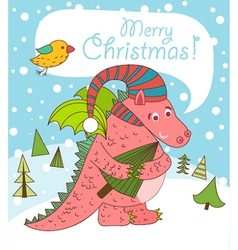 Christmas greeting card with dragon vector
