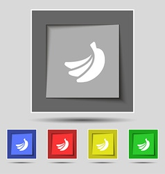 Banana icon sign on original five colored buttons vector