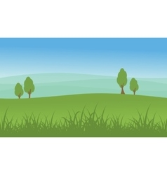 Hill with tree beauty landscape vector