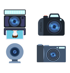 Retro photo camera set vector