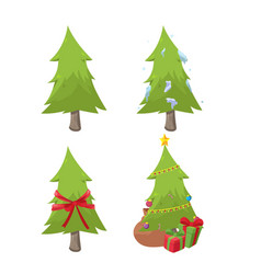 christmas design tree collection set vector image