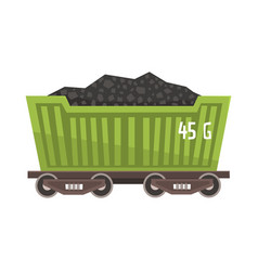 Green railway wagon loaded with coal colorful vector
