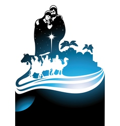 Nativity scene card vector