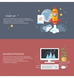 Start up rocket and business process vector