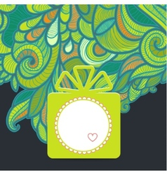 Gift with floral green vector
