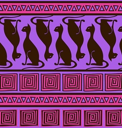 Ethnic seamless pattern with elegance cats vector