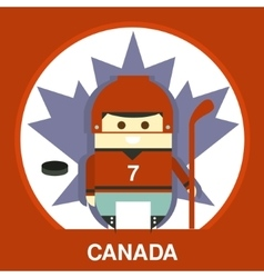 Canadian in hockey uniform vector
