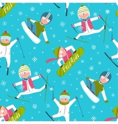 Funky skier snowboarder winter sport cartoon vector