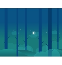Wallpaper landscape of winter forest and moon vector