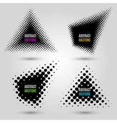 Set with abstract halftone design elements vector