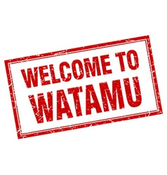 Watamu red square grunge welcome isolated stamp vector