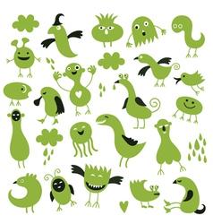 set of little green monsters vector image