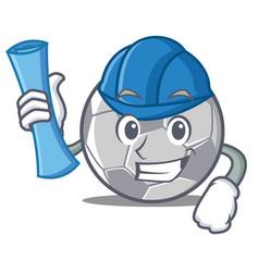 architect football character cartoon style vector image