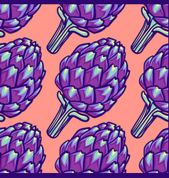 Artichoke violet flower head seamless pattern vector