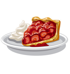 Baked strawberry pie vector