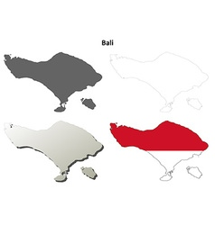 Bali blank outline map set vector