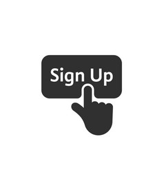 black simple finger presses on sign up button vector image vector image