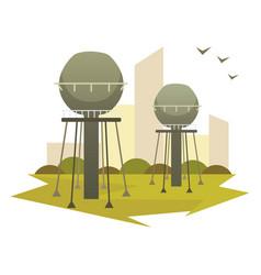 Building industrial factory cartoon vector