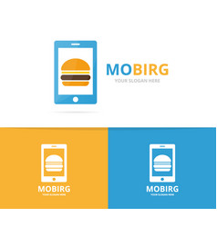 burger and phone logo combination vector image