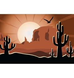 Cactus in the desert sunset vector image