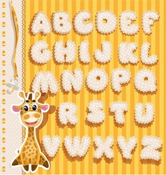 Children alphabet with lace ribbons and giraffe vector image