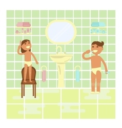 Children on the bathroom interior background vector image