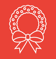 christmas wreath with bow line icon new year vector image