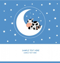 Cow moon vector