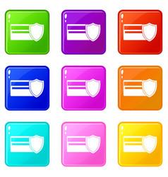 credit card and shield icons 9 set vector image