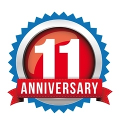 Eleven years anniversary badge with red ribbon vector