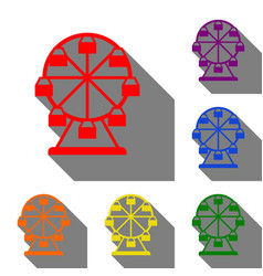 ferris wheel sign set of red orange yellow vector image