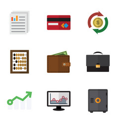 Flat icon gain set of document portfolio vector
