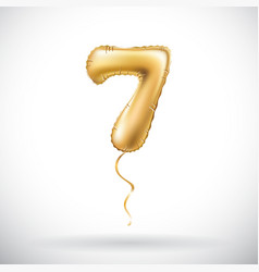 golden number 7 seven metallic balloon party vector image vector image