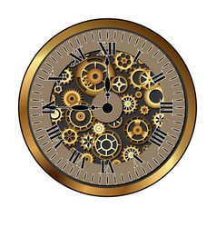 golden skeleton clock vector image