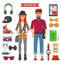 Hipster Couple Decorative Icons Set vector image vector image