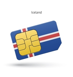 Iceland mobile phone sim card with flag vector