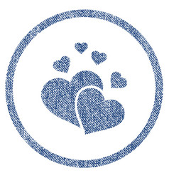 lovely hearts rounded fabric textured icon vector image
