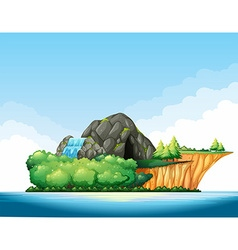 Nature scene with cave and waterfall on the island vector image