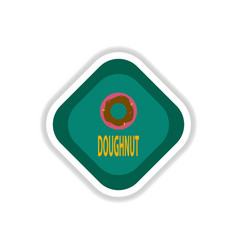Paper sticker on white background donut vector