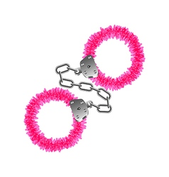Pink handcuffs isolated on white vector image vector image