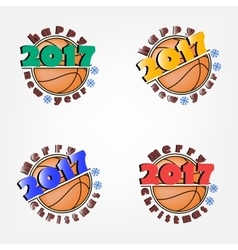 Set of basketball and new year vector