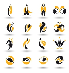Set of different yellow abstract flat elements vector image vector image