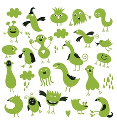 set of little green monsters vector image