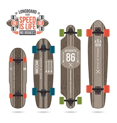 Set of prints on longboard vector image vector image